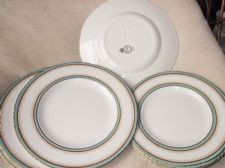 LOT VERY OLD GILDED PLATES AQUA RINGS 5687 JOHN MADDOCK SONS 5 X DINNER 4 SALAD